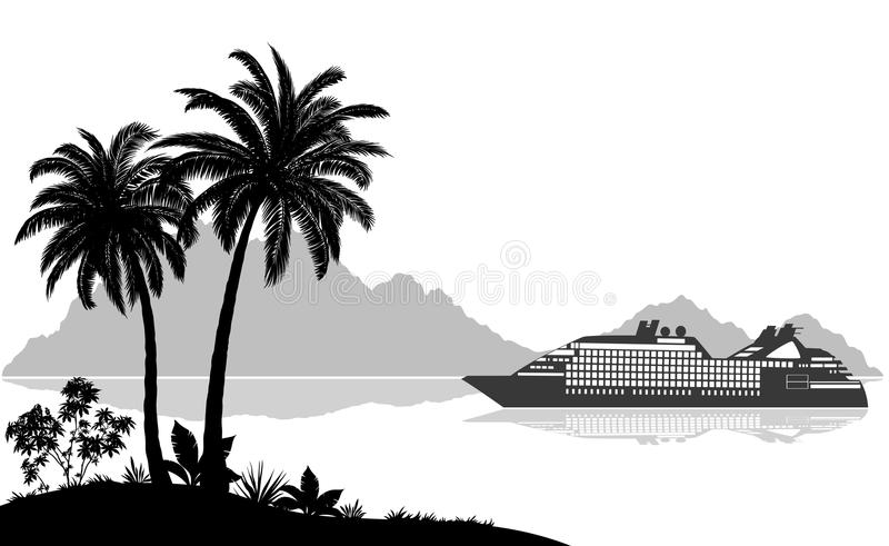 Τοπίο με το σκάφος, τους φοίνικες και τα βουνά ελεύθερη απεικόνιση δικαιώματος