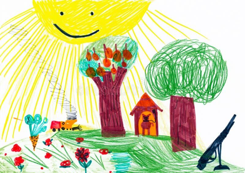Τοπίο με το σκυλί, το δάσος και το λιβάδι. απεικόνιση αποθεμάτων