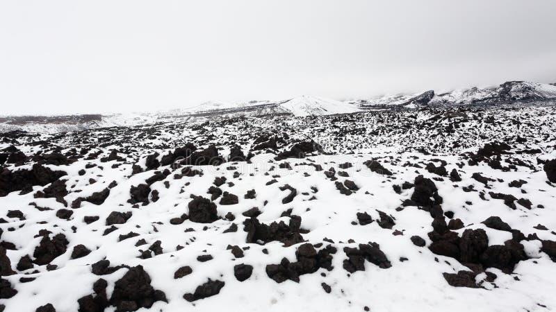 Τοπίο με το χιόνι, caldera Askja περιοχή, Ισλανδία στοκ φωτογραφίες