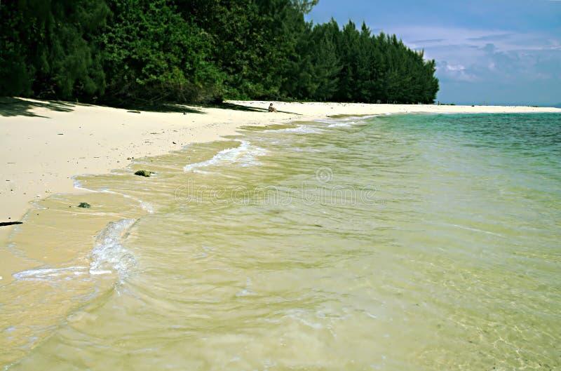 Τοπίο μιας σχεδόν εγκαταλειμμένης παραλίας σε ένα μυστικό νησί στην Ταϊλάνδη, μια νεφελώδη ημέρα στοκ φωτογραφία με δικαίωμα ελεύθερης χρήσης