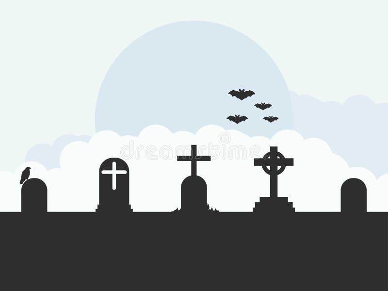 Τοπίο νεκροταφείων, τάφοι, ρόπαλα, επίπεδο ύφος διάνυσμα ελεύθερη απεικόνιση δικαιώματος