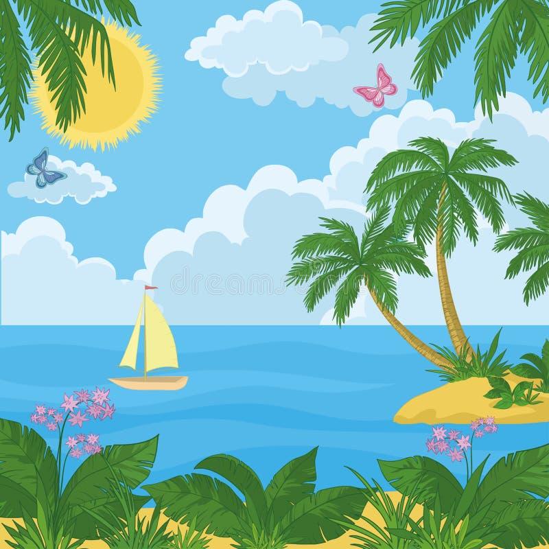 Τοπίο: νησί με τους φοίνικες και το σκάφος ελεύθερη απεικόνιση δικαιώματος
