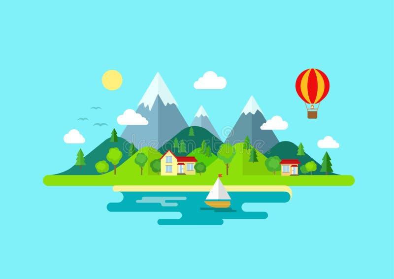 Τοπίο νησιών βουνών ταξιδιού και επίπεδη έννοια χρώματος ναυσιπλοΐας διανυσματική απεικόνιση