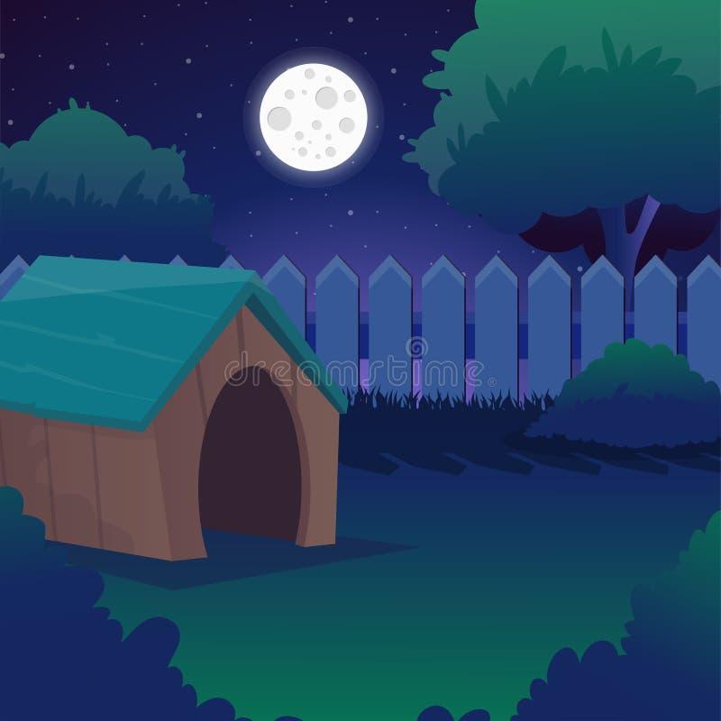 Τοπίο νύχτας κινούμενων σχεδίων με τον έναστρους ουρανό, τη πανσέληνο, τα δέντρα και τους Μπους με τα πράσινα foliages, ξύλινος φ διανυσματική απεικόνιση