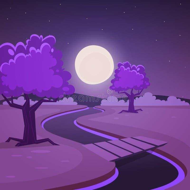 Τοπίο νύχτας κινούμενων σχεδίων απεικόνιση αποθεμάτων
