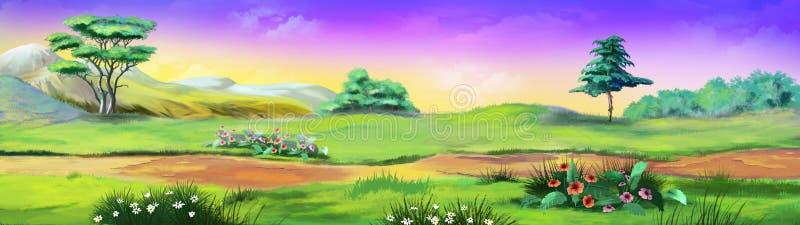 Τοπίο πανοράματος με τα δέντρα και τα λουλούδια Εικόνα 01 διανυσματική απεικόνιση