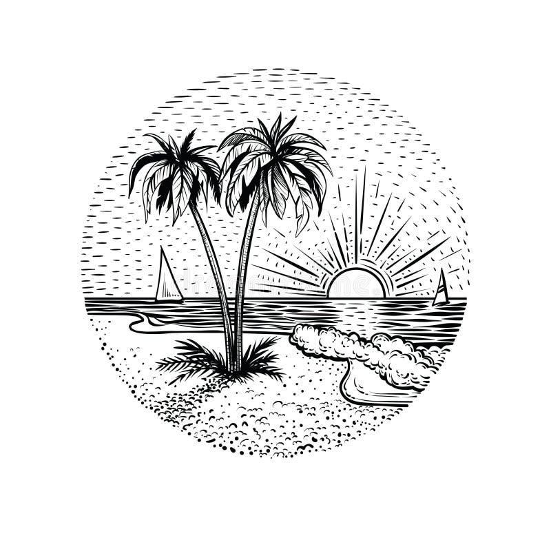 Τοπίο παραλιών γραμμών με τους φοίνικες και το ηλιοβασίλεμα Στρογγυλή έμβλημα, κάρτα, δερματοστιξία ή στοιχείο σχεδίου διανυσματική απεικόνιση