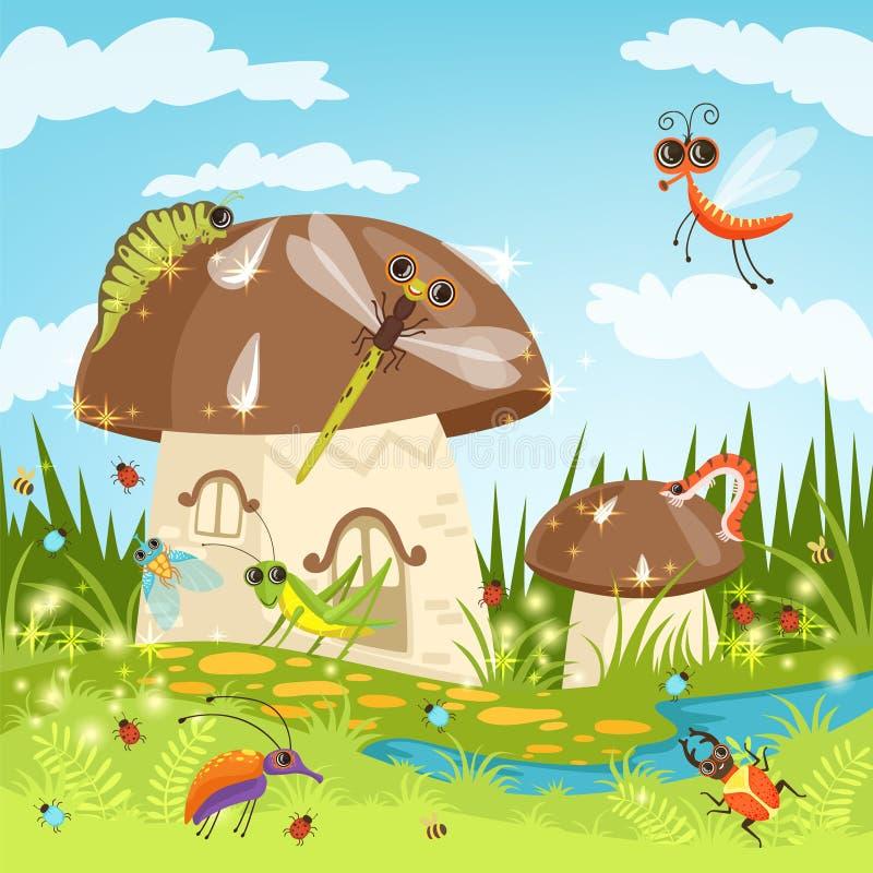 Τοπίο παραμυθιού με τα αστεία έντομα ελεύθερη απεικόνιση δικαιώματος