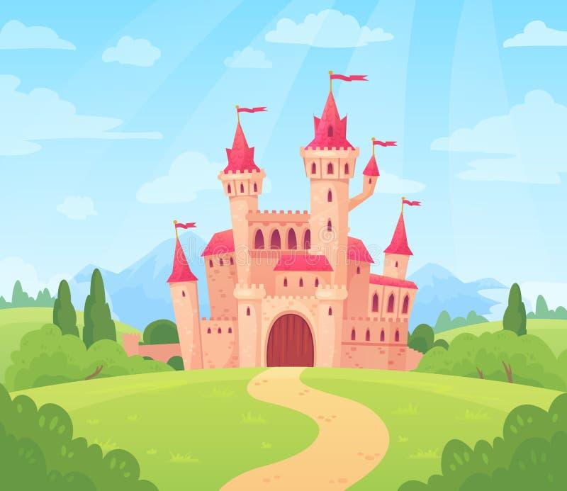 Τοπίο παραμυθιού με το κάστρο Πύργος παλατιών φαντασίας, φανταστικό σπίτι νεράιδων ή μαγικό διάνυσμα κινούμενων σχεδίων βασίλειων απεικόνιση αποθεμάτων