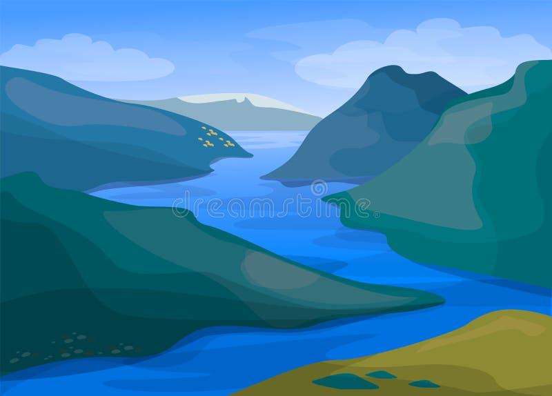 Τοπίο ποταμών και βουνών Πράσινη φύση και μπλε νερό απεικόνιση αποθεμάτων