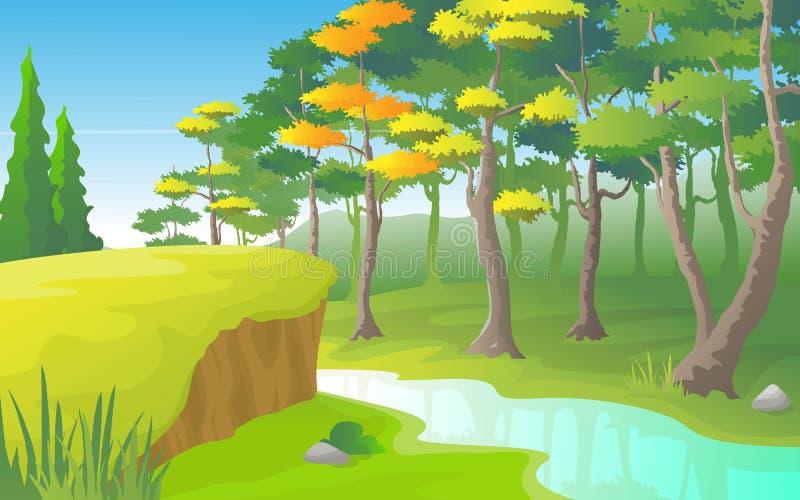 Τοπίο ποταμών με το πυκνό δάσος στην πλευρά του ποταμού ελεύθερη απεικόνιση δικαιώματος