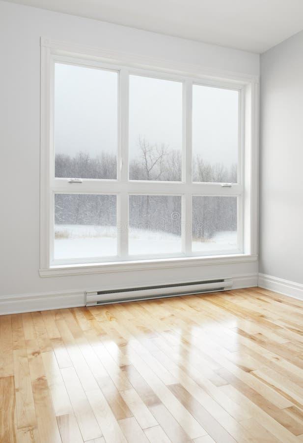 Τοπίο που φαίνεται χειμερινό μέσω του παραθύρου στοκ εικόνα με δικαίωμα ελεύθερης χρήσης
