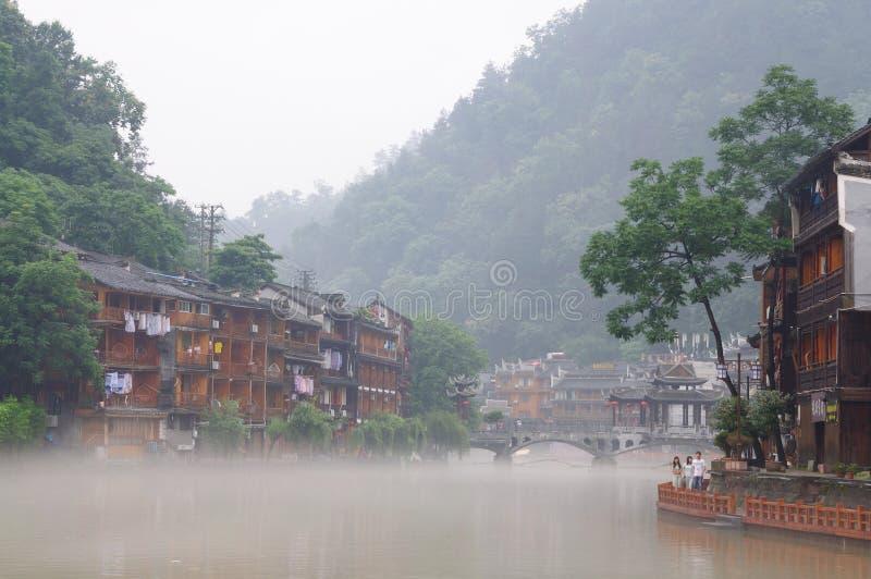 Τοπίο πρωινού της αρχαίας πόλης FengHuang στοκ εικόνες με δικαίωμα ελεύθερης χρήσης