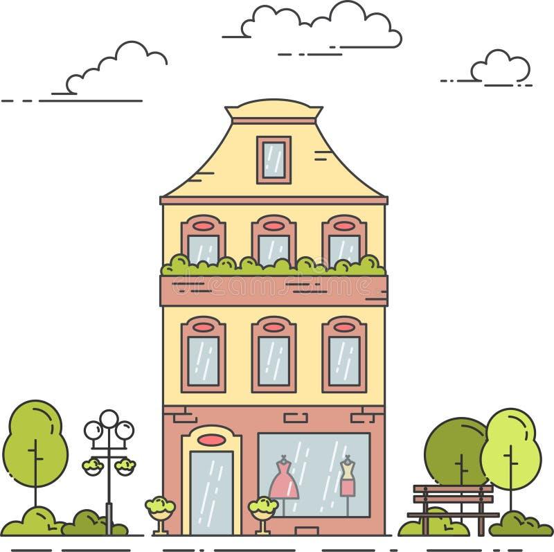 Τοπίο πόλεων με το αναδρομικούς σπίτι, τα δέντρα και τον πάγκο κάτω από τα σύννεφα στην τέχνη γραμμών που απομονώνεται στο άσπρο  διανυσματική απεικόνιση