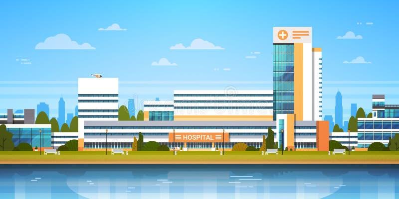 Τοπίο πόλεων με το νοσοκομείο που χτίζει την εξωτερική σύγχρονη άποψη κλινικών απεικόνιση αποθεμάτων