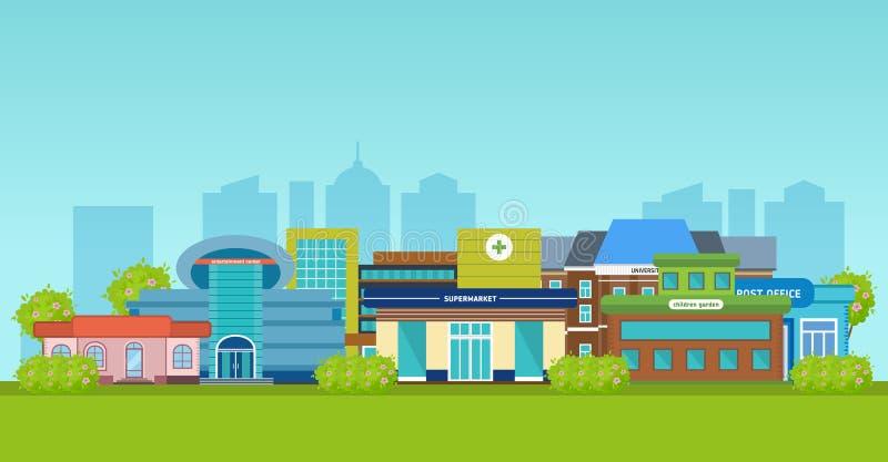 Τοπίο πόλεων, πρόσοψη, εξωτερικά κτήρια, αρχιτεκτονικές δομές των αστικών υποδομών απεικόνιση αποθεμάτων