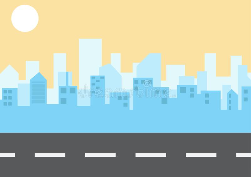 Τοπίο πόλεων στο επίπεδο ύφος r r διανυσματική απεικόνιση