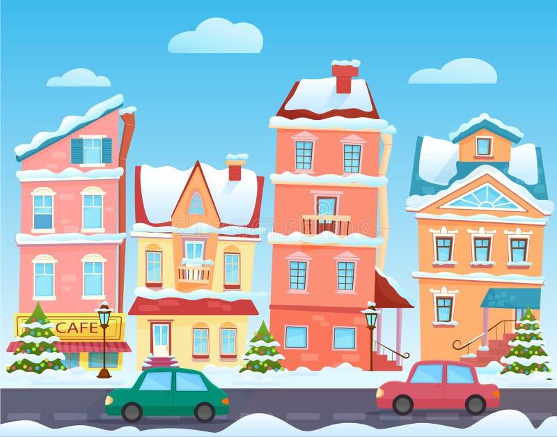 Τοπίο πόλεων χειμερινών κινούμενων σχεδίων Διανυσματικό υπόβαθρο Χριστουγέννων με τα αστεία σπίτια Χιονώδης πόλη στην παραμονή δι απεικόνιση αποθεμάτων