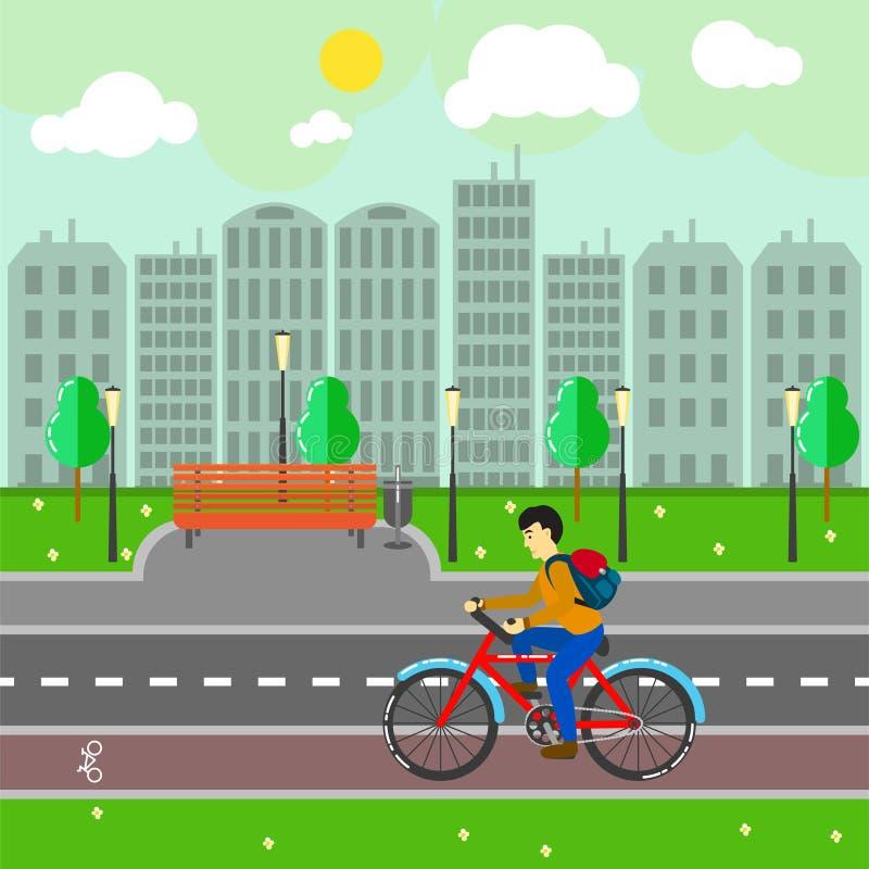 Τοπίο πόλεων με τα κτήρια, τη διανυσματική απεικόνιση δρόμων και ποδηλατών διανυσματική απεικόνιση