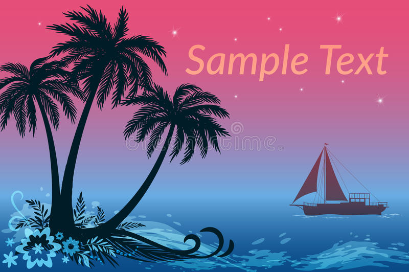 Τοπίο, σκάφος, φοίνικες και θάλασσα νύχτας απεικόνιση αποθεμάτων