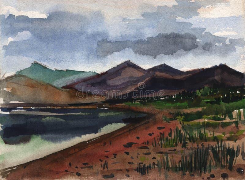 Τοπίο Σκίτσο Watercolor ενός τοπίου βουνών ενάντια σε μια λίμνη ελεύθερη απεικόνιση δικαιώματος