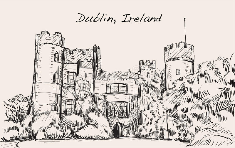 Τοπίο σκίτσων της πόλης του Δουβλίνου, Ιρλανδία, κάστρο Malahide, ελεύθερο απεικόνιση αποθεμάτων