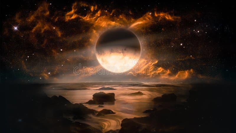 Τοπίο στον αλλοδαπό πλανήτη φαντασίας με το φλεμένος υπόβαθρο φεγγαριών και γαλαξιών απεικόνιση αποθεμάτων
