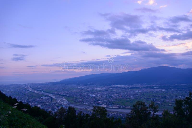 Τοπίο στο λυκόφως στην περιοχή Seisho, Kanagawa, Ιαπωνία στοκ εικόνες