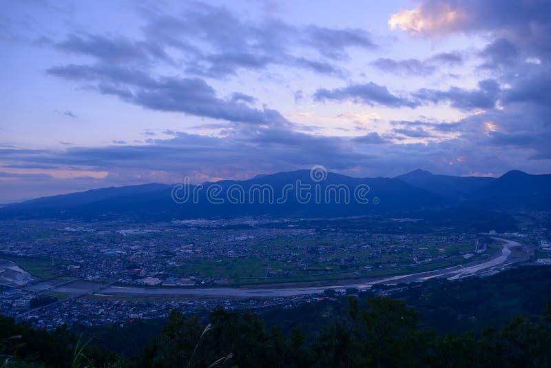 Τοπίο στο λυκόφως στην περιοχή Seisho, Kanagawa, Ιαπωνία στοκ φωτογραφία με δικαίωμα ελεύθερης χρήσης