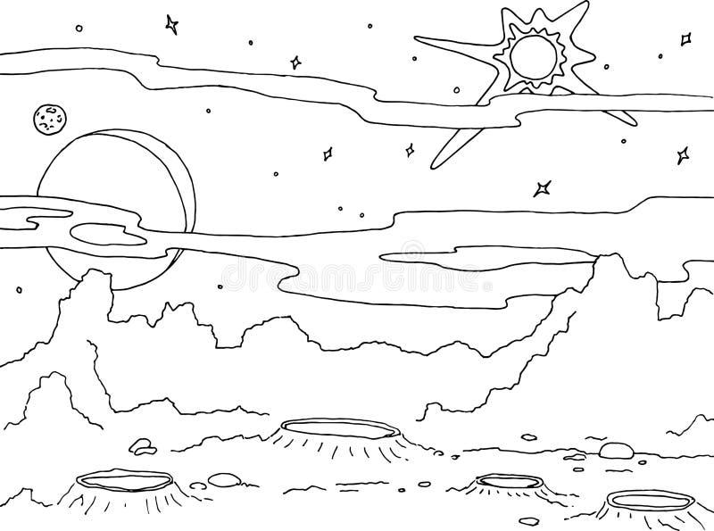 Τοπίο σχεδίων περιλήψεων ενός πλανήτη με τους κρατήρες και τους βράχους Αστέρια γαλαξιών, μεγάλοι πλανήτης και δορυφόρος σε ένα υ διανυσματική απεικόνιση