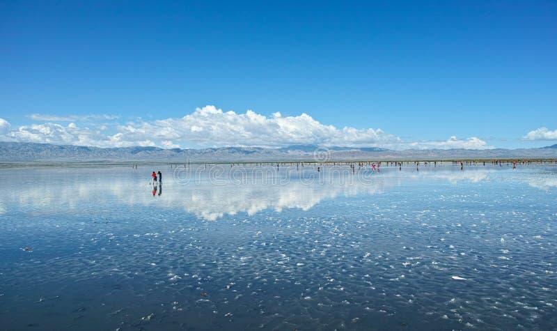 Τοπίο Σόλτ Λέικ της Κίνας Qinghai Chaka στοκ εικόνα