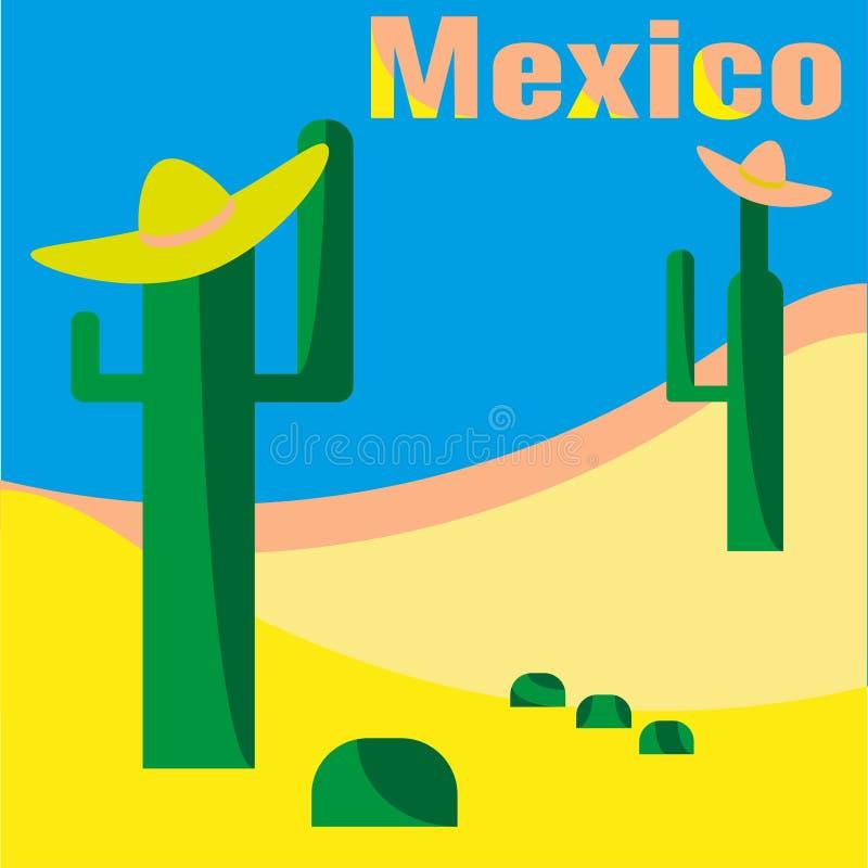 Τοπίο τέχνης για το έμβλημα Διανυσματική απεικόνιση για το σχέδιο των καρτών, προσκλήσεις, αναμνηστικά, κάρτες ταξιδιού του Μεξικ ελεύθερη απεικόνιση δικαιώματος