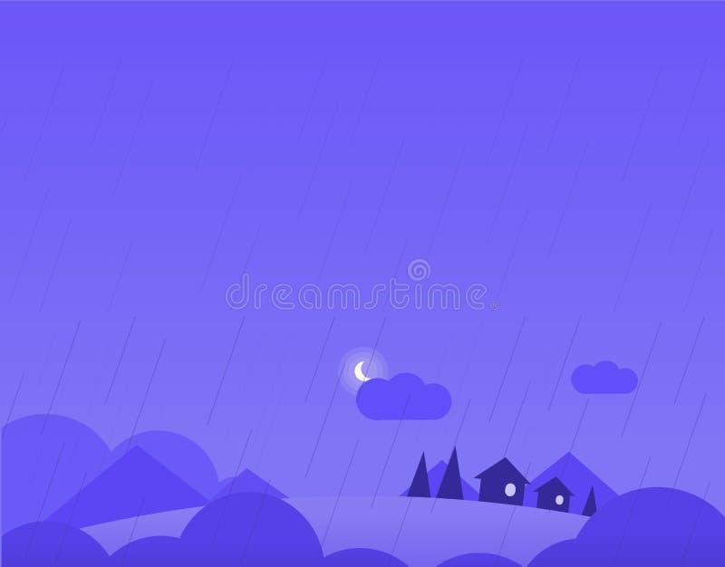 Τοπίο ταπετσαριών με τα του χωριού σπίτια, λόφοι και διανυσματική απεικόνιση
