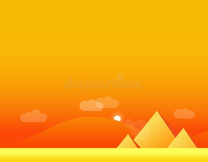 Τοπίο ταπετσαριών της ερήμου και των πυραμίδων, διάνυσμα απεικόνιση αποθεμάτων