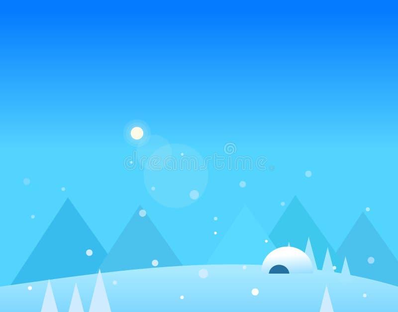 Τοπίο ταπετσαριών των χειμερινών βουνών, παγοκαλύβα και ελεύθερη απεικόνιση δικαιώματος