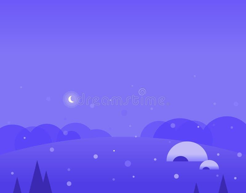 Τοπίο ταπετσαριών των χειμερινών λόφων, παγοκαλύβα και ελεύθερη απεικόνιση δικαιώματος
