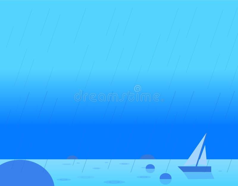 Τοπίο ταπετσαριών Seascape και του πανιού, διάνυσμα ελεύθερη απεικόνιση δικαιώματος