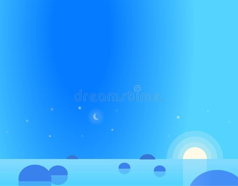 Τοπίο ταπετσαριών Seascape στη Dawn ή το σούρουπο ελεύθερη απεικόνιση δικαιώματος