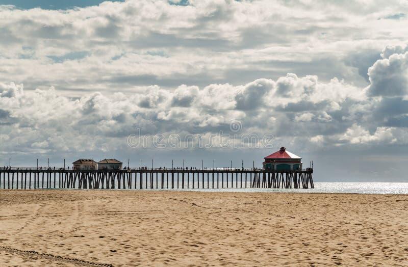 Τοπίο της αποβάθρας και του ωκεανού στην παραλία Huntington, Καλιφόρνια στοκ φωτογραφία με δικαίωμα ελεύθερης χρήσης