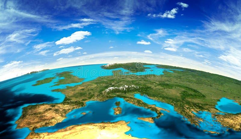 Τοπίο της Ευρώπης από το διάστημα ελεύθερη απεικόνιση δικαιώματος
