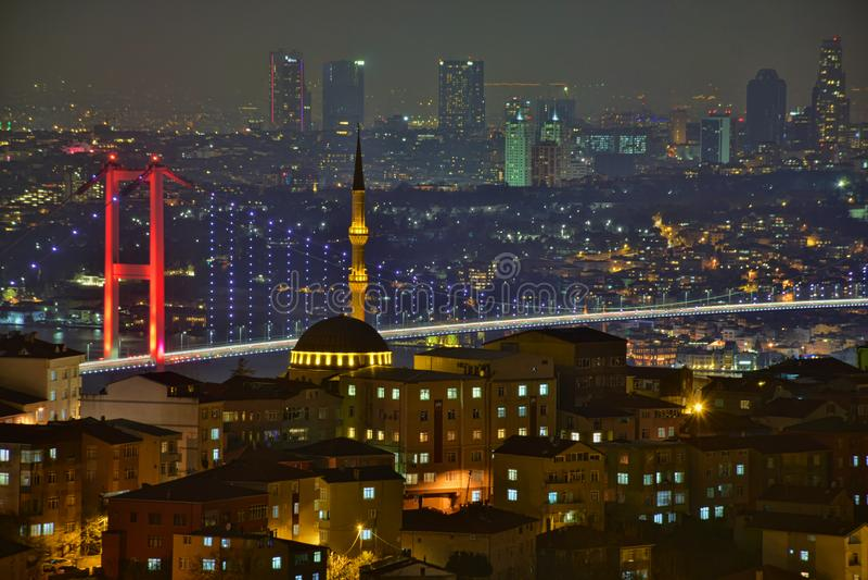 Τοπίο της Ιστανμπούλ από το μουσουλμανικό τέμενος Camlica στοκ εικόνες