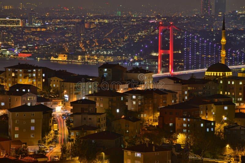 Τοπίο της Ιστανμπούλ από το μουσουλμανικό τέμενος Camlica στοκ φωτογραφία με δικαίωμα ελεύθερης χρήσης