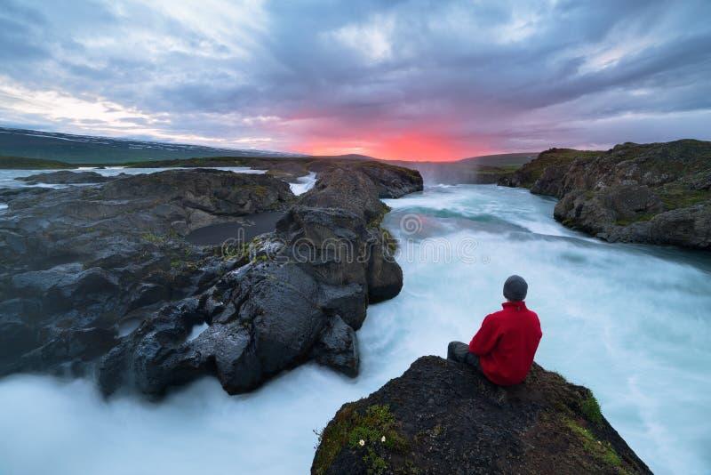 Τοπίο της Ισλανδίας με τον καταρράκτη Godafoss στοκ εικόνες με δικαίωμα ελεύθερης χρήσης