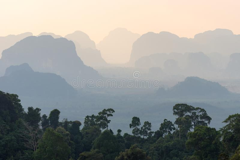 Τοπίο της τροπικής μουντής προοπτικής βουνών σκιαγραφιών και τα πράσινα δέντρα ζουγκλών στο πρώτο πλάνο στοκ εικόνα