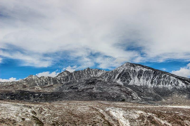 Τοπίο του λιβαδιού κάτω από το βουνό χιονιού στοκ φωτογραφία