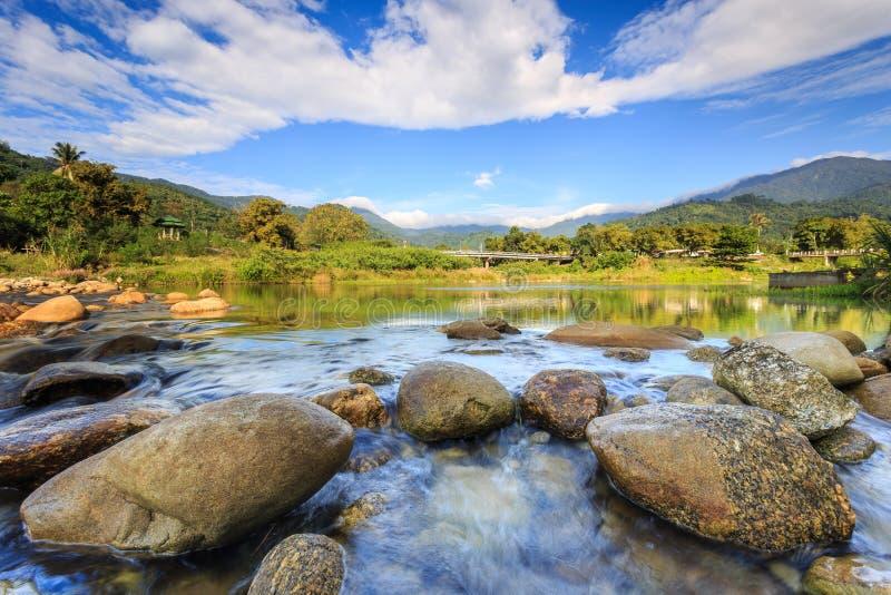 Τοπίο του μικρού ποταμού και του όμορφου ουρανού στο χωριό Kiriwong, στοκ φωτογραφία με δικαίωμα ελεύθερης χρήσης