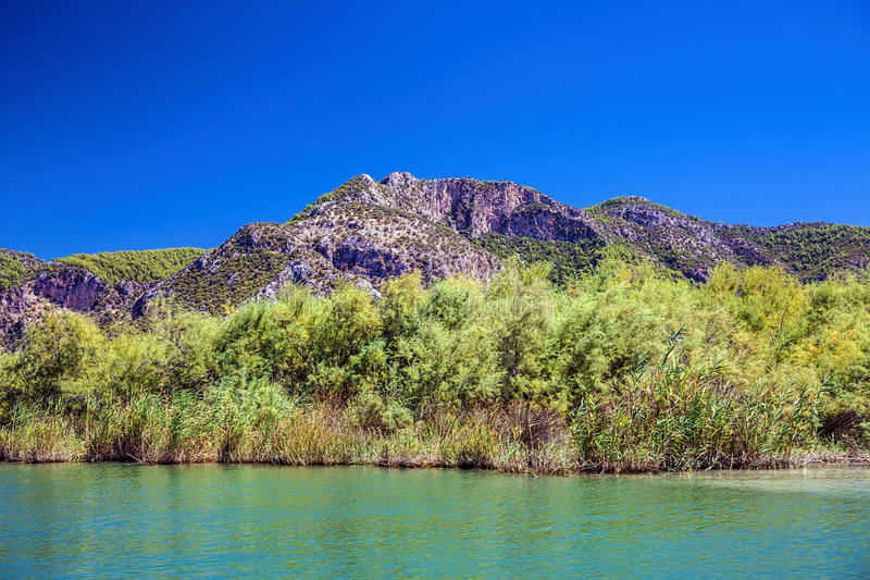 Τοπίο του ποταμού Dalyan στοκ εικόνες