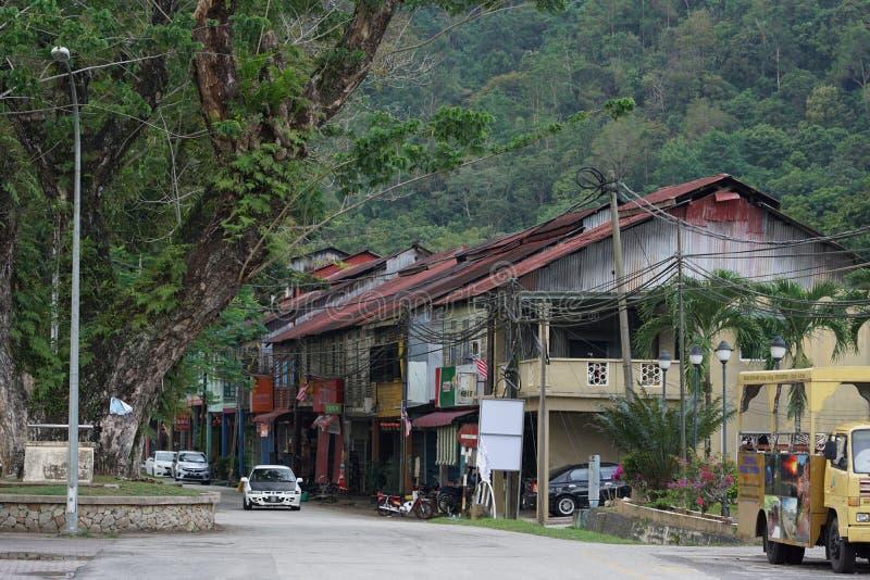 Τοπίο του σπιτιού και του δρόμου σε Sungai Lembing στοκ εικόνα