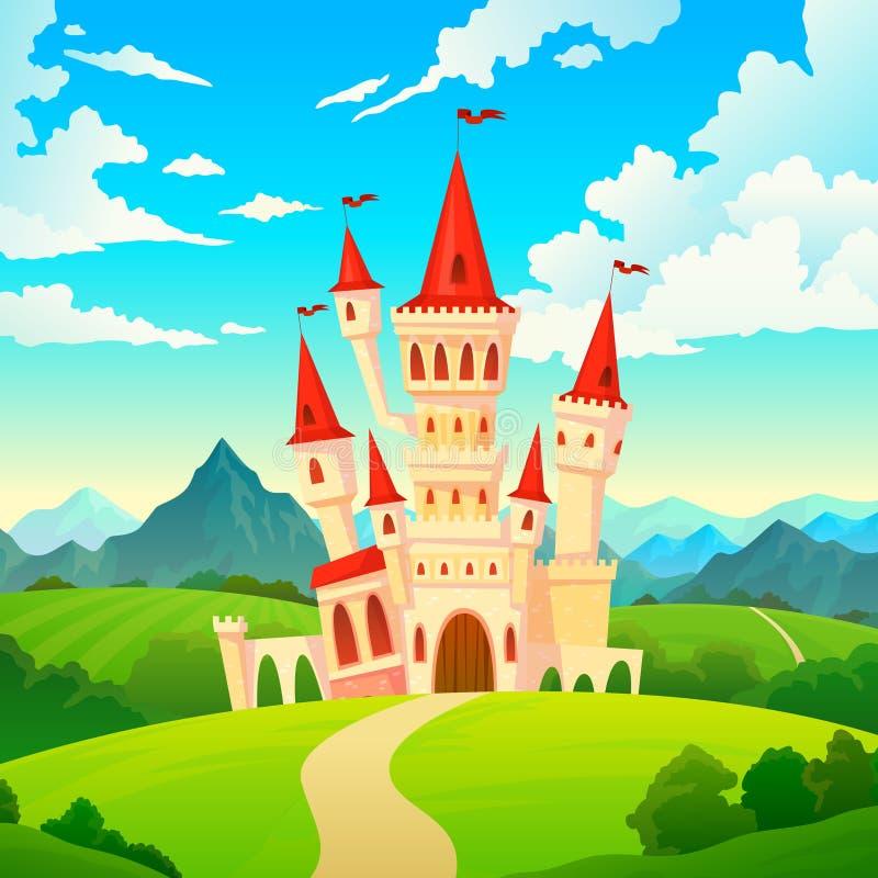 Τοπίο του Castle Παλατιών παραμυθιού βασίλειων μαγικά πύργων μεσαιωνικά μεγάρων κάστρων κινούμενα σχέδια βουνών λόφων δασικά πράσ διανυσματική απεικόνιση