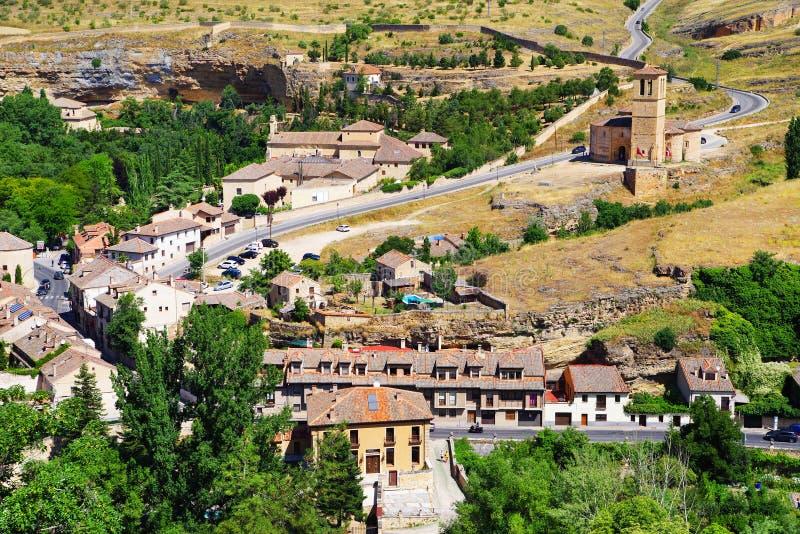 Τοπίο των περιχώρων Segovia Η εκκλησία του Λα Βέρα Cruz - η αρχαία templar εκκλησία στοκ φωτογραφίες